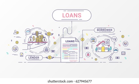 Loans Info graphics. Loan agreement between the lender and the borrower. Vector illustration. Flat line design.