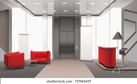 Lobby interior realistic composition with red sofa elevator doors lamps with shades and daylight windows vector illustration
