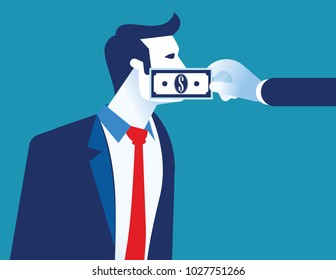 Lobbyist corruption. Businessman with bank note taped to mouth. Concept business vector illustration.
