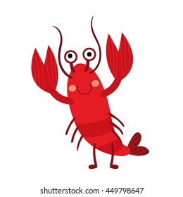Lobster animal cartoon character isolated on white background.