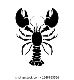 Lobster, crustacean silhouette vector drawing. Crayfish hand drawn illustration. Seafood restaurant delicacy minimalistic pictogram. Sealife, underwater biology isolated design element
