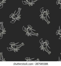 Lobster doodle seamless pattern background