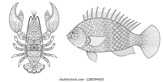 Lobster and fish collection for coloring book, coloring page. Vector illustration