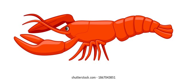 Lobster fish on a white background. Cartoon style vector illustration