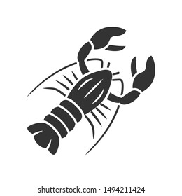 Lobster glyph icon. Seafood restaurant menu. Swimming marine animal with pincers. Delicacy food. Underwater fauna. Undersea inhabitant. Silhouette symbol. Negative space. Vector isolated illustration