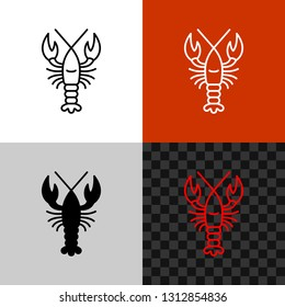 Lobster icon. Simple line style lobster or crayfish silhouette. Seafood symbol. Editable outline width.