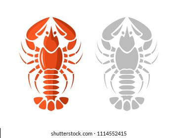 Lobster icons. Color and silhouette variants. Vector graphic design elements.