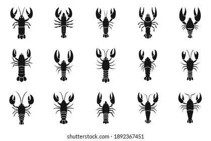 Lobster icons set. Simple set of Lobster vector icons for web design on white background