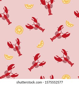 Lobster and lemon seamless pattern with a blush pink background. Sea food and citrus fruit wrapping paper repeat design.