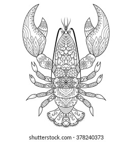 Lobster line art design for coloring book, logo, t shirt design, tattoo and so on
