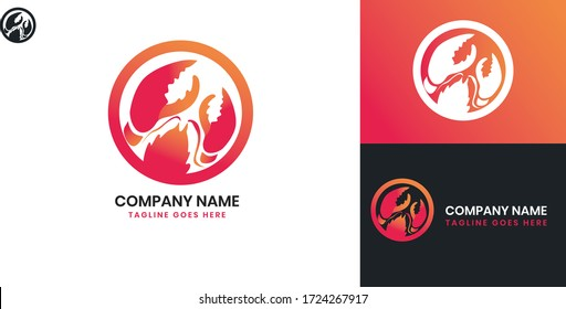 Lobster Logo - All elements on this template are editable with vector software
