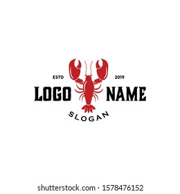 Lobster logo vector file. Simple and memorable for food drink, restaurant, supplier, fisherman boat, ocean theme cafe brand icon. Modern vintage logo design. Apply to web site, office, wall phone apps