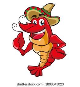 lobster mascot cartoon in vector