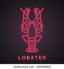 Lobster Neon Light Glowing Vector Illustration Graphic Sign Bright with Dark Background