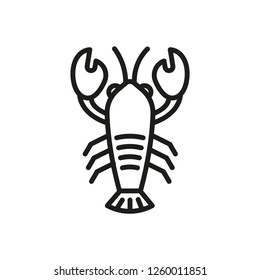 Lobster outline icon, crustacean symbol, healthy food vector sign isolated on white background. seafood icon