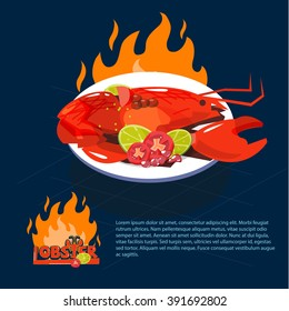 Lobster with parsley and lemon slices  on dish. seafood concept - vector illustration