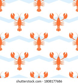 Lobster pattern seamless vector illustration on white background. Cartoon cute lobster collection.