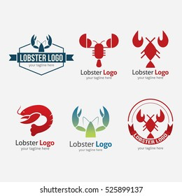 Lobster seafood logo and design elements. Vector illustration