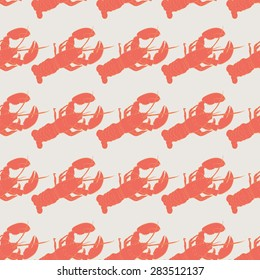 Lobster seamless vector pattern