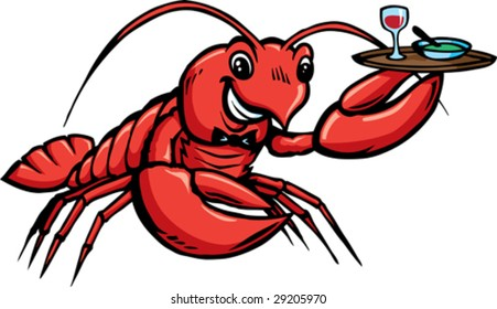 Lobster serving food.  With vector, plate is on a separate layer and can be removed.