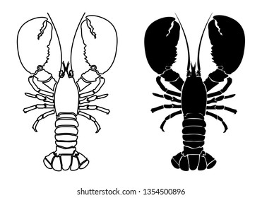 Lobster Silhouette Icon on White Background. Vector - Vector
