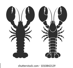 Lobster silhouette. Isolated lobster on white background