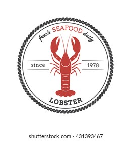 Lobster silhouette. Template for restaurants, stores, food packaging. Vector illustration.