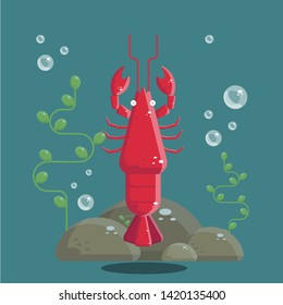 Lobster under the sea. A cute cartoon lobster characte underwater. Flat design illustration