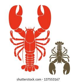 Lobster. Vector illustration. Prepared lobster on white background
