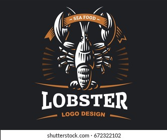 Lobster vector logo illustration. Crustacean in a vintage style on white and dark background.