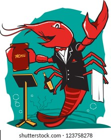 A lobster waiter greeting his guests