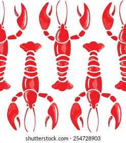 lobster watercolor seamless background