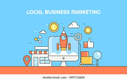 Local business optimization thin line vector banner, giving boost to local business through inbound marketing process with icons and elements