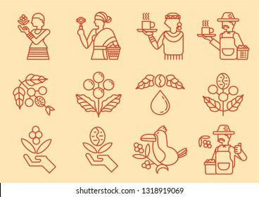 local coffee farmer line icon with coffee tree vector illustration