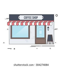 Local Coffee Shop Building Facade with Signboard. Flat Style Illustration or Icon.