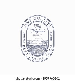 Local Farm Products Retro Frame Badge or Logo Template. Hand Drawn Rural Farm Landscape Sketch with Retro Typography and Borders. Vintage Sketch Emblem. Isolated.