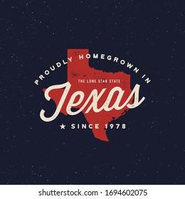 local farm retro grunge badge. homegrown in texas. vector illustration