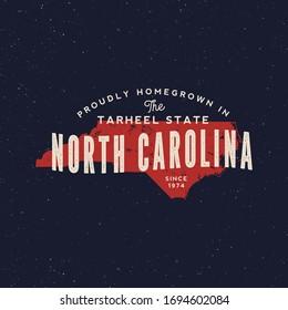 local farm retro grunge badge. homegrown in north carolina. vector illustration