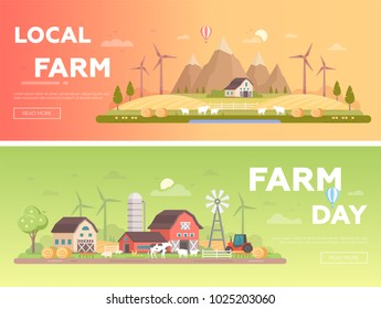 Local farm - set of modern flat design style vector illustrations with place for text. A collection of two countryside landscapes with a barn, tractor, windmills, animals, haystacks, silage tower