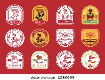 local farmer badge design with farmer harvest,coffee fruit,coffee bean,coffee pan roasting,sheep with burlap bag vector illustration.