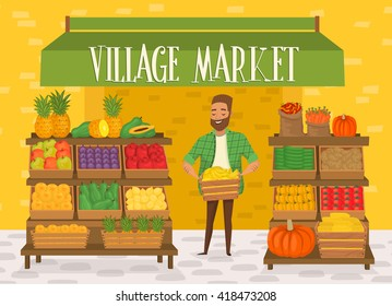 Local farmer shopkeeper. Seller fresh vegetables. Natural product. Village market.
