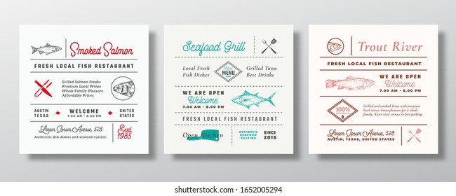 Local Fish and Seafood Party or Restaurant Signs, Titles or Menu Decoration Elements Set. Retro Typography Layouts Bundle with Hand Drawn Trout, Tuna, Salmon Sketches. Vintage Label Templates Isolated