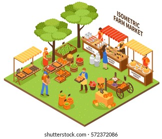 Local growing outdoor funfair market isometric composition with farmer greengrocer characters selling natural organic food products vector illustration