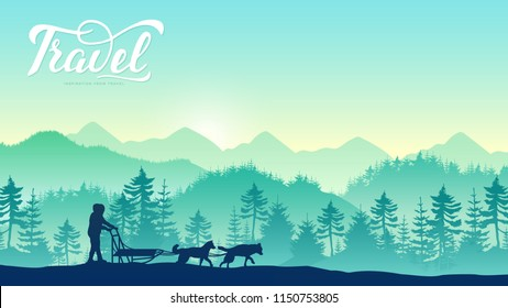 A local man rides a dog sled through a forest at the North Pole design concept. Man musher hiding behind sleigh at sled dog race on snow in winter. Huskys in Sibratsgfaell, Austria background.