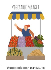 Local market farmer selling vegetables produce on stall with awning. Modern cute flat style vector illustration isolated on white background.
