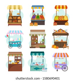 Local markets with different food flat illustrations set. Fruit and vegetable marketplace. Kiosks with milk products. Ice cream cart, bakery. Seafood and grocery counters isolated on white background