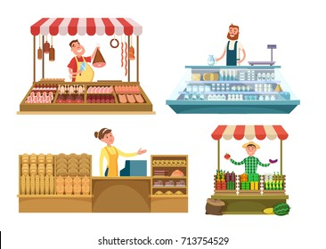 Local markets. Fresh farm foods, meat, bakery and milk. Shopping places isolated on white background. Market shop milk and meat, vegetables and fruit illustration