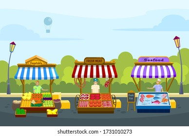 Local markets. Fresh fish, meat and vegetable. Shopping places on the street against the background of trees and sky.