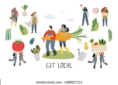 Local organic production cartoon vector illustration. Eat Local - vector print and lettering. People farmers in modern style at the farmers market.