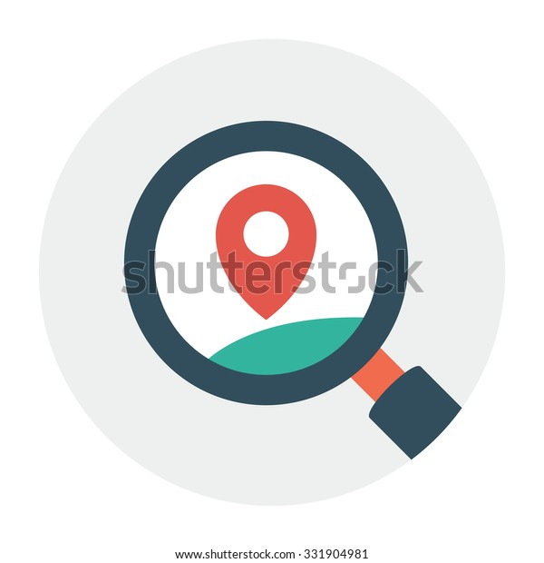 Local Search Engine Optimization Flat Icon Stock Vector